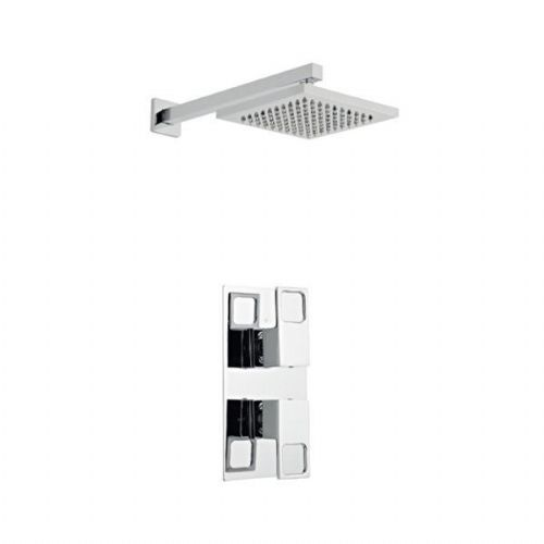Kartell Kourt Mixer Shower Thermostatic Concealed Valve Fixed Shower Head Chrome